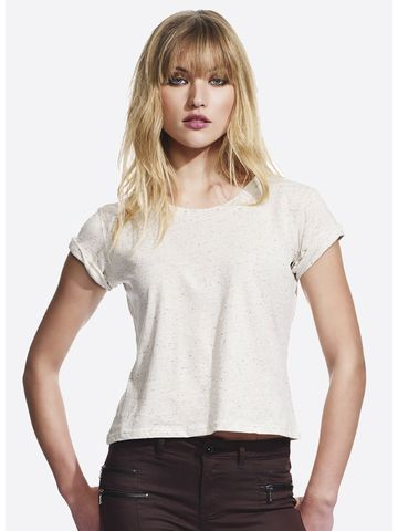 Continental Clothing Women´s Speckled Rolled Up Sleeve T-Shirt
